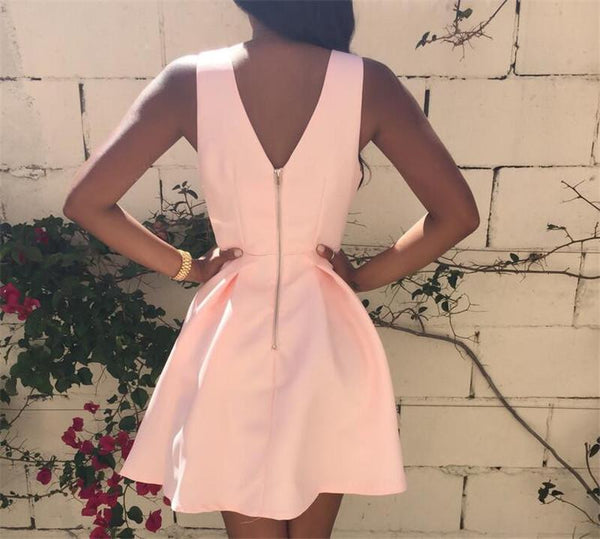 Custom Made V Neck Pink Short Prom Dress, Pink V Neck Homecoming Dress, Formal Dresses