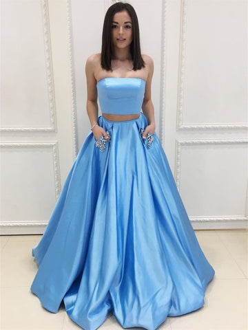 Two Piece Strapless Blue Long Prom Dresses with Beading Pockets, Two Pieces Blue Formal Evening Dresses