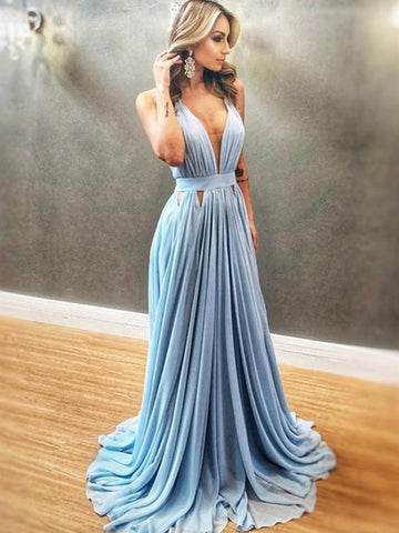 A Line V Neck Blue Chiffon Long Prom Dresses, V Neck Blue Formal Evening Dresses, Blue Bridesmaid Dresses