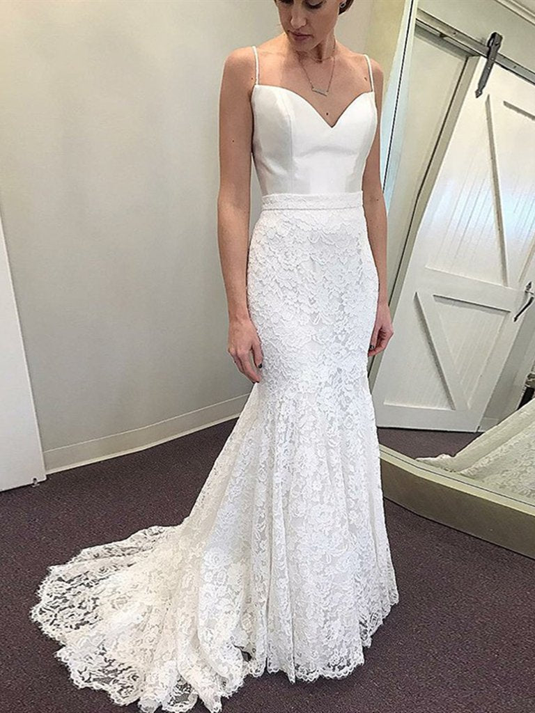 White Mermaid Spaghetti Straps Sweep Train Lace Wedding Dresses, Mermaid White Lace Prom Evening Dresses