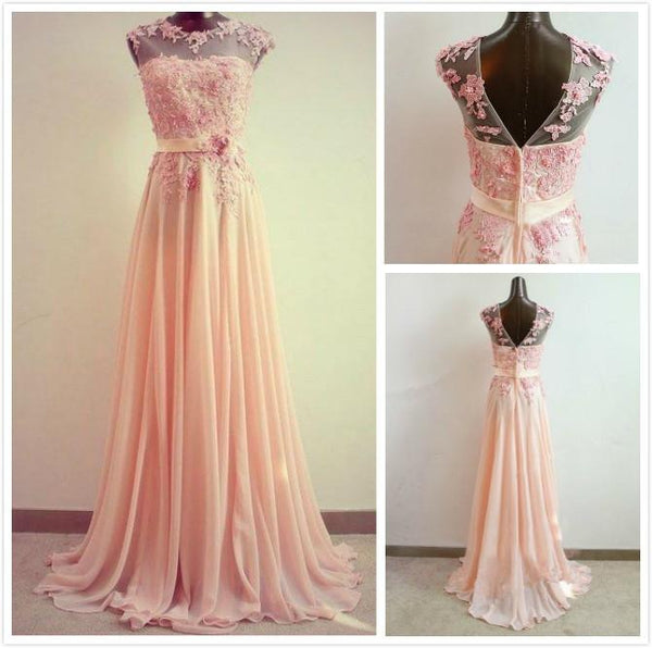 A-Line Round Neck Sweep Train Lace Prom Dress, Formal Dresses, Lace Bridesmaid Dress