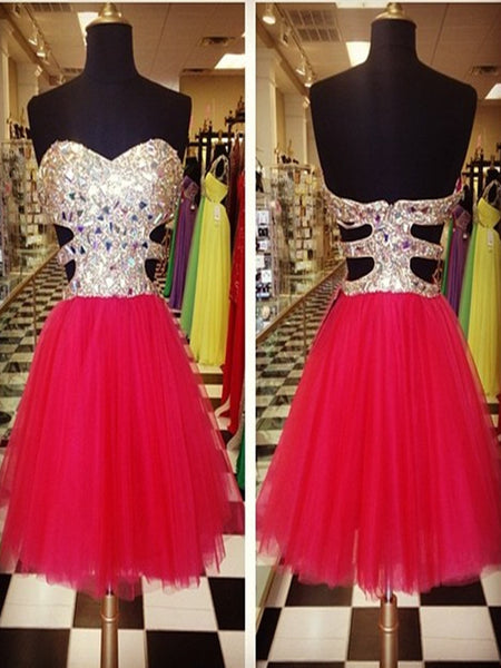 A Line Sweetheart Neck Red Stone Short Prom Dress, Short Formal Dress, Short Red Graduation Dresses, Red Short Homecoming Dresses
