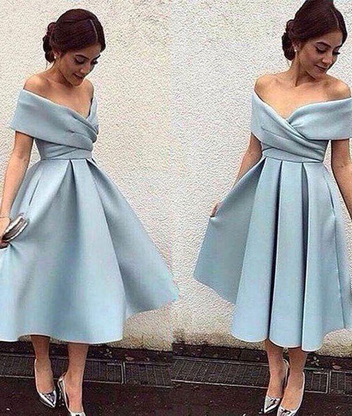 Off Shoulder Short Blue Prom Dress, Off Shoulder Homecoming Dress, Graduation Dress