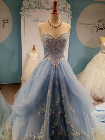 Custom Made Sweetheart Neck Light Blue Wedding Dresses, Prom Dresses, Formal Dresses with Lace Flower