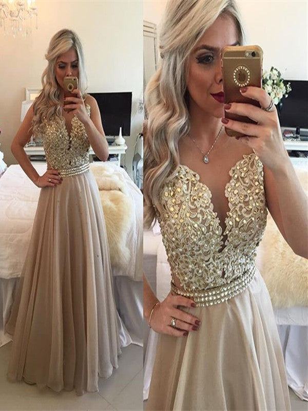 Custom Made A Line Round Neck Sleeveless Long Champagne Prom Dress, Champagne Formal Dress