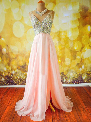 Pink A Line V Neck Sleeveless Long Prom Dresses, Pink V Neck Formal Dresses, Evening Dresses
