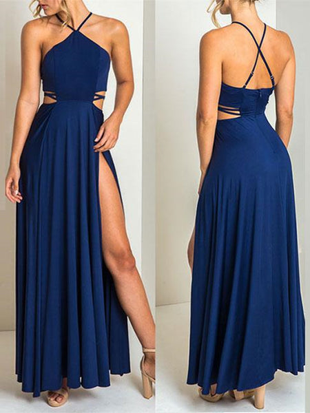 Sexy High Slit Blue Backless Prom Dresses, Sleeveless Formal Dresses, Halter Neck Evening Dress
