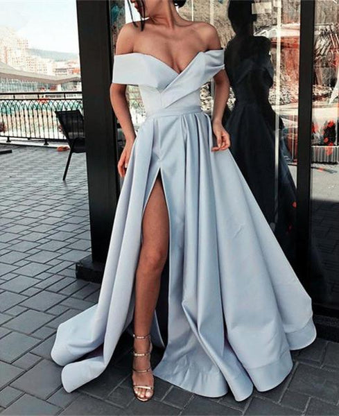 Sweetheart Slit Prom Dresses, A-Line Formal Dresses, Off Shoulde Ball Gown