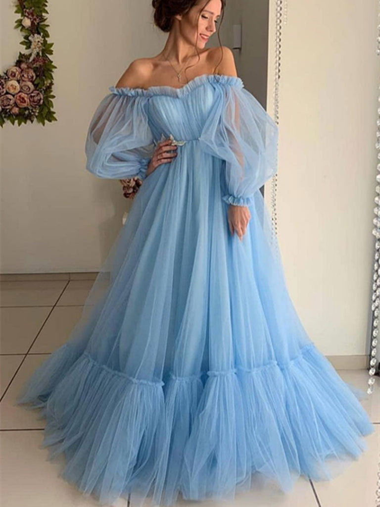 Blue tulle long prom dress, blue tulle evening graduation dress