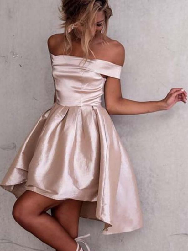 Custom Made Off Shoulder Short High Low Prom Dress, High Low Off Shoulder Short Homecoming Dress