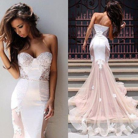 Custom Made Sweetheart Neck Mermaid Sweep Train Lace Wedding Dress, Mermaid Lace Prom Dresses