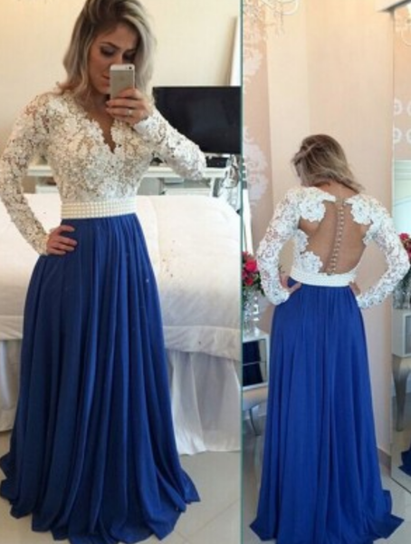 Custom Made A Line Long Sleeves White and Blue Lace Prom Dresses, Lace Formal Dresses Details