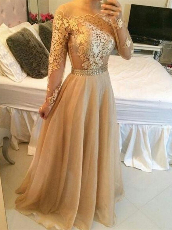 Custom Made Golden Long Sleeves Lace Prom Dresses, Golden Lace Formal Dresses