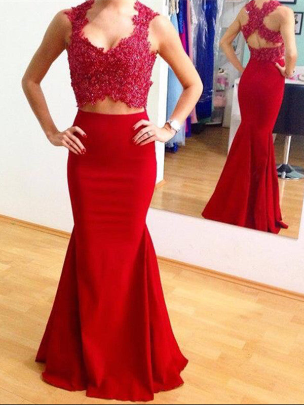 Custom Made Red Sleeveless Mermaid Prom Dress with Cross Back, Red Mermaid Formal Dress, Party Dress