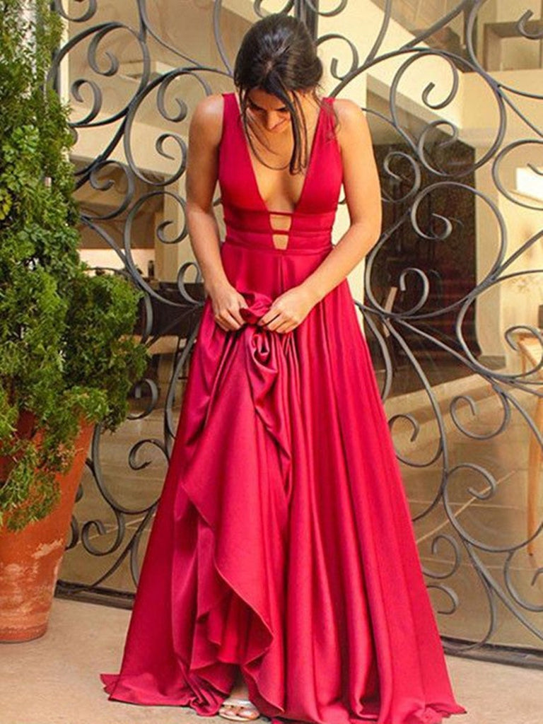 Special A Line V Neck Backless Prom Dress, V Neck Backless Formal Dress