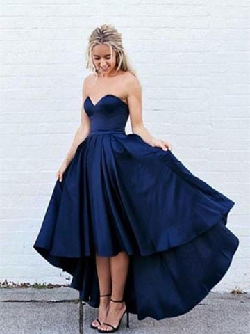 Sweetheart Neck High Low Dark Blue Prom Dress, Dark Blue High Low Formal Dress, Graduation Dress