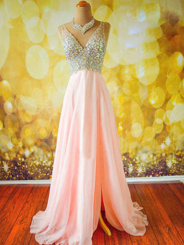 Custom Made A Line V Neck Floor Length Prom Dress, Long Formal Dress, Evening Dress
