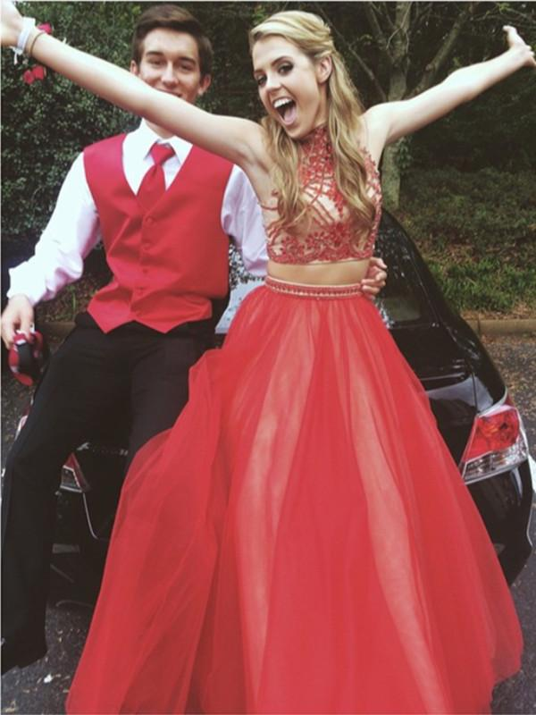Custom Made High Neck 2 Pieces Long Red Prom Dress, 2 Pieces Red Formal Dress