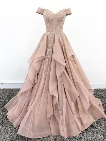 Off the Shoulder Champagne Lace Prom Dresses, Off Shoulder Champagne Lace Formal Evening Dresses