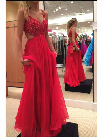 Custom Made A Line Backless Lace Red Prom Dresses, Lace Formal Dresses, Bridesmaid Dresses