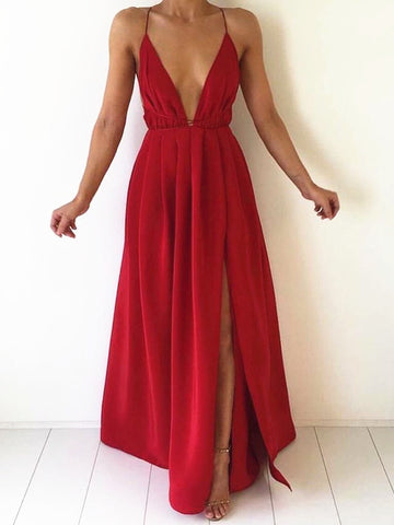 Custom Made A Line V Neck Backless Floor Length Prom Dresses, Bridesmaid Dresses, Formal Dresses