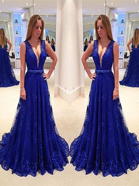 Royal Blue A Line V Neck Sweep Train Lace Prom Dress, Royal Blue Lace Formal Dress
