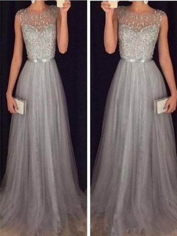 Custom Made A Line Round Neck Sleeveless Grey Prom Dresses With Sweep Train, Grey Formal Dresses