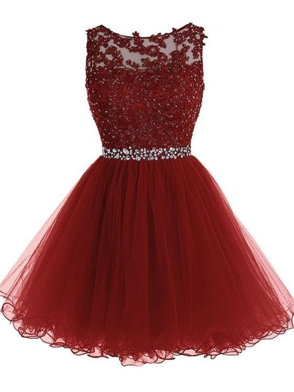 03a5eaa0906 Custom Made Round Neck Short Burgundy Lace Prom Dress