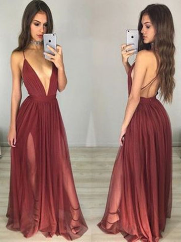 Sexy Backless Deep V Neck  a  line Side Slit Chiffon Long Evening Prom Dresses,  Long  formal Dresses