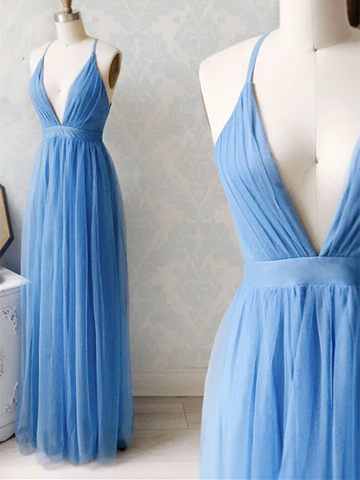 V Neck Blue Chiffon Long Prom Dresses, Blue Long V Neck Chiffon Formal Evening Dresses, Blue Bridesmaid Dresses