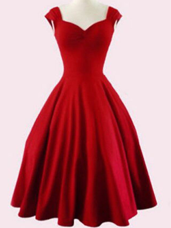 A Line Short Red Prom Dresses, Short Red Homecoming Dresses, Formal Dresses