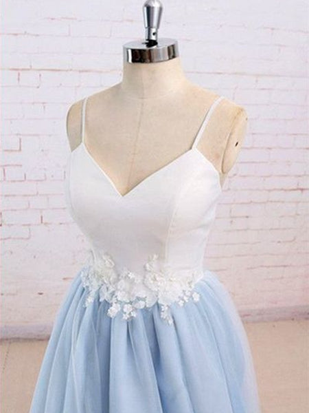 Sweetheart Neck Blue and White Sweep Train Prom Dress, Formal Dress