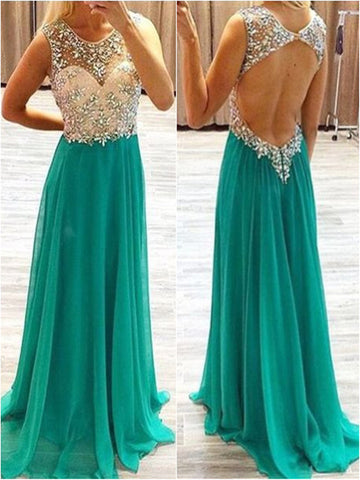 Custom Made A Line Round Neck Backless Floor Length Long Prom Dresses, Formal Dresses
