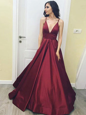 Burgundy V-Neck Satin Spaghetti Straps Prom Dresses, Sexy Formal Dresses