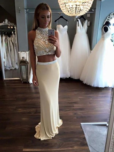 A Line 2 Pieces Chiffon Prom Dresses, 2 Pieces Formal Dress, Party Dresses