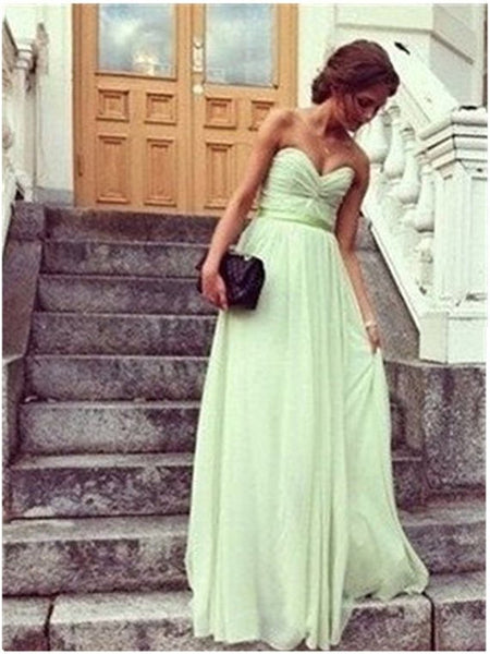 Custom Made A Line Sage Long Prom Dresses, Long Bridesmaid Dresses, Formal Dresses, Wedding Party Dresses