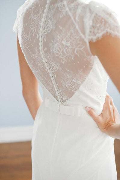 A line V neck Cap Sleeves White Long Lace Wedding Dress Details