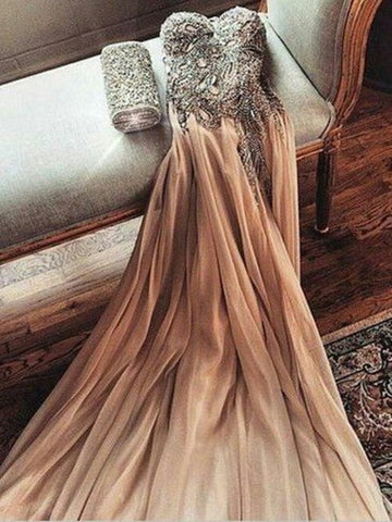 Custom Made A Line Sweetheart Neck Floor Length Prom Dresses, Long Formal Dresses