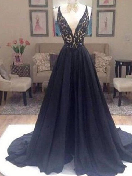 Custom Made V Neck Sweep Train Long Black Lace Prom Dress, Black Long Lace Formal Dresses
