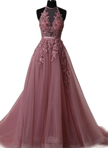 A Line Halter Neck Lace Prom Dress with Sweep Train,  Backless Formal Dress, Evening Dress