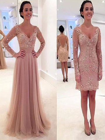 Custom Made V Neck Long Sleeves Lace Wedding Dresses, Lace Prom Dresses, Formal Dresses