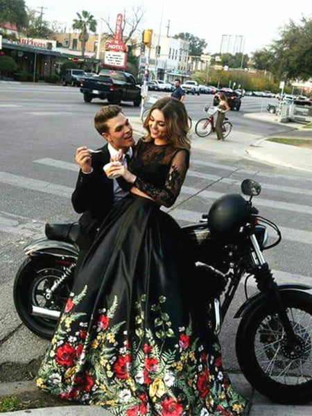Custom Made 2 Pieces Long Sleeves Black Lace Prom Dress, 2 Pieces Black Lace Formal Dress