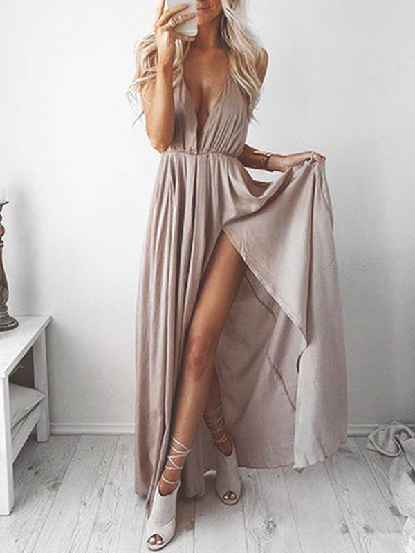 A Line Deep V Neck Sleeveless Prom Dress with Slit, V Neck Formal Dress, Bridesmaid Dress