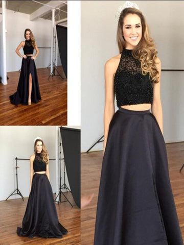 Custom Made A Line 2 Pieces Black Long Prom Dresses, 2 Pieces Black Long Formal Dress