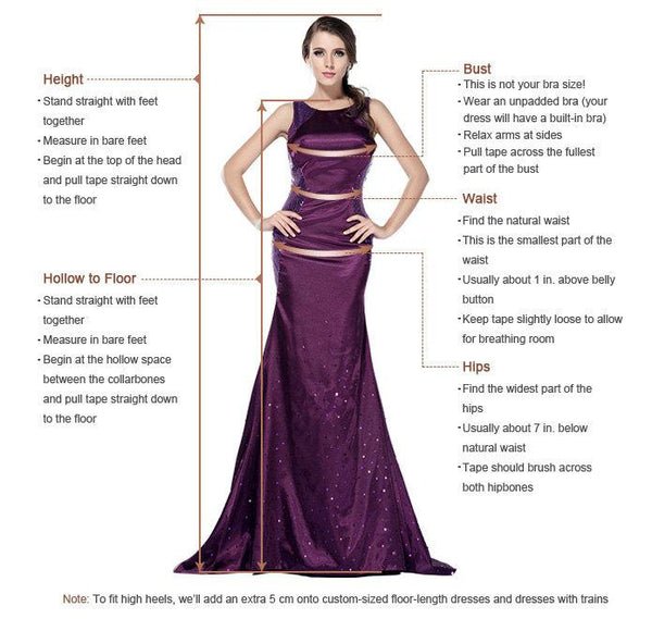 A Line V Neck 2 Pieces Prom Dress, 2 Pieces Formal Dress, Evening Dress Measure Guide