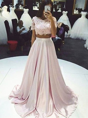 Custom Made 2 Pieces Pink Lace Prom Dresses, Pink Lace Formal Dresses