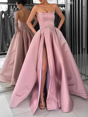 High Slit Pink/Navy Blue/Burgundy Prom Dresses, Strapless Formal Dresses