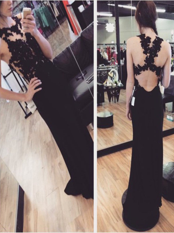Custom Made Round Neck Black Lace Prom Dress, Black Lace Formal Dresses