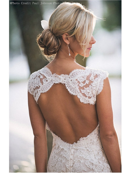 Custom Made A Line Backless V Neck Lace Wedding Dress, Lace Bridal Dress,Lace Wedding Gown