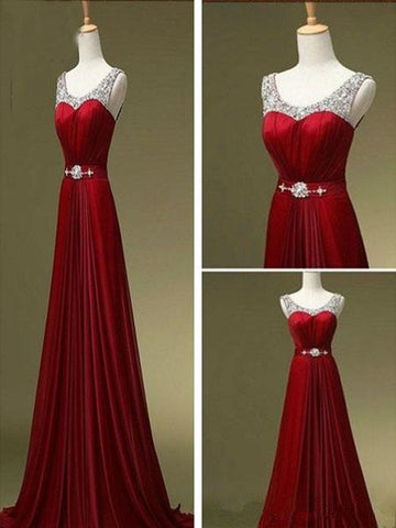 Custom Made A Line Dark Red Round Neck Long Prom Dresses, Bridesmaid Dresses, Formal Dresses